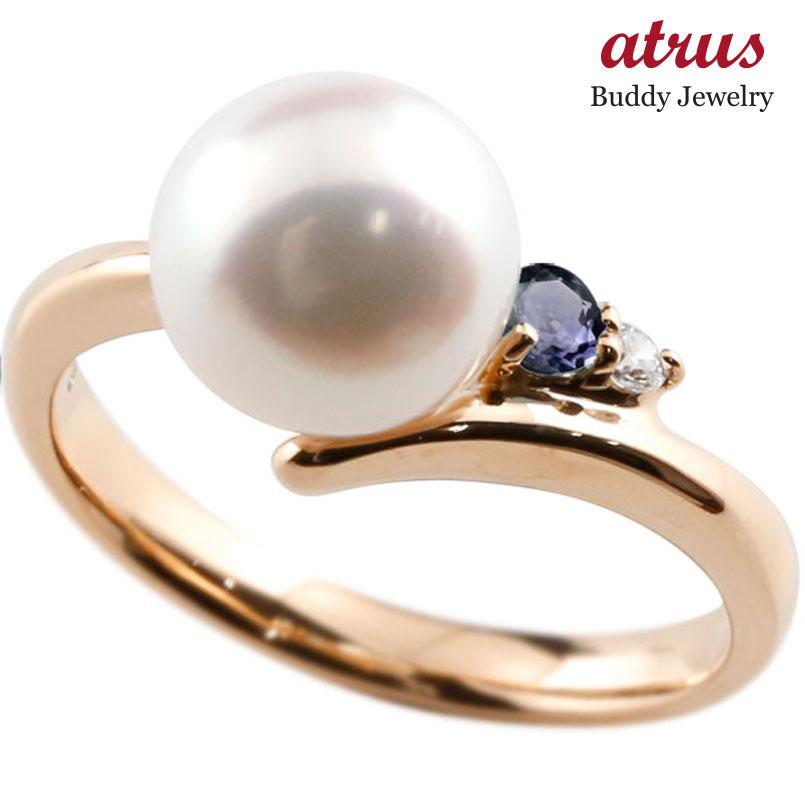 ピンキーリング 真珠 パール アイオライト ピンクゴールドk18 リング ダイヤモンド ダイヤ 指輪