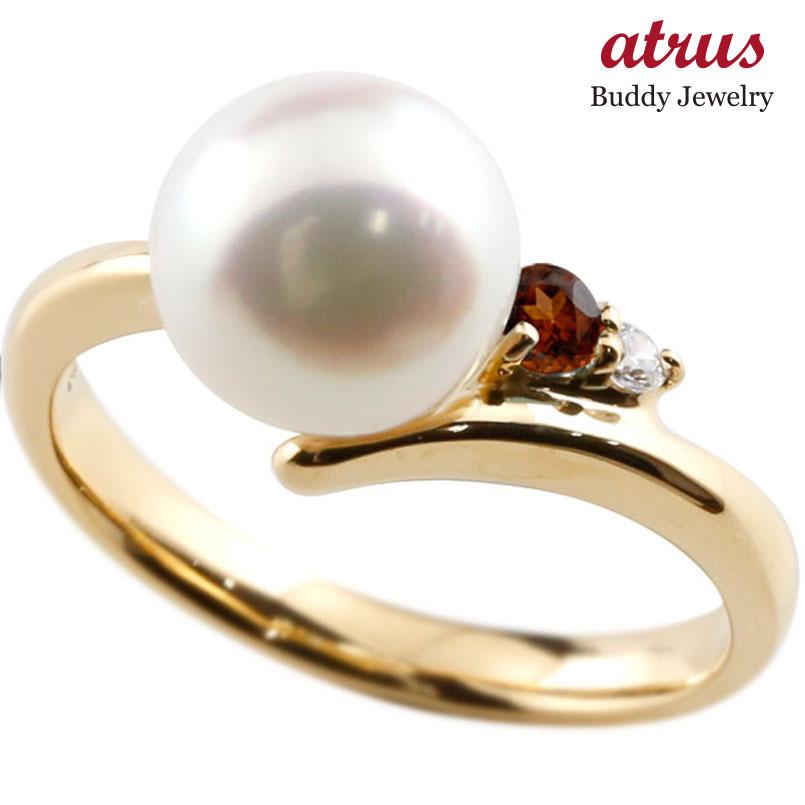 ピンキーリング 真珠 パール ガーネット イエローゴールドk10 リング ダイヤモンド ダイヤ 指輪