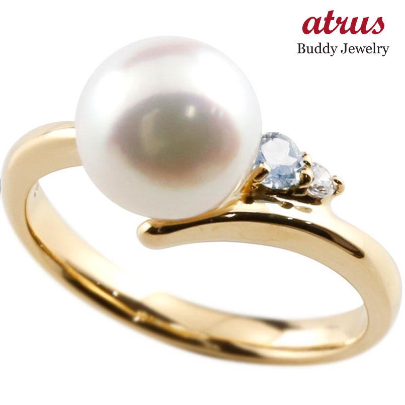ピンキーリング 真珠 パール ブルームーンストーン イエローゴールドk10 リング ダイヤモンド ダイヤ 指輪
