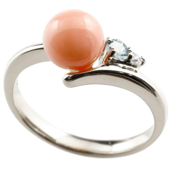 ピンキーリング 珊瑚 サンゴ コーラル アクアマリン ホワイトゴールドk18 リング ダイヤモンド ダイヤ 指輪