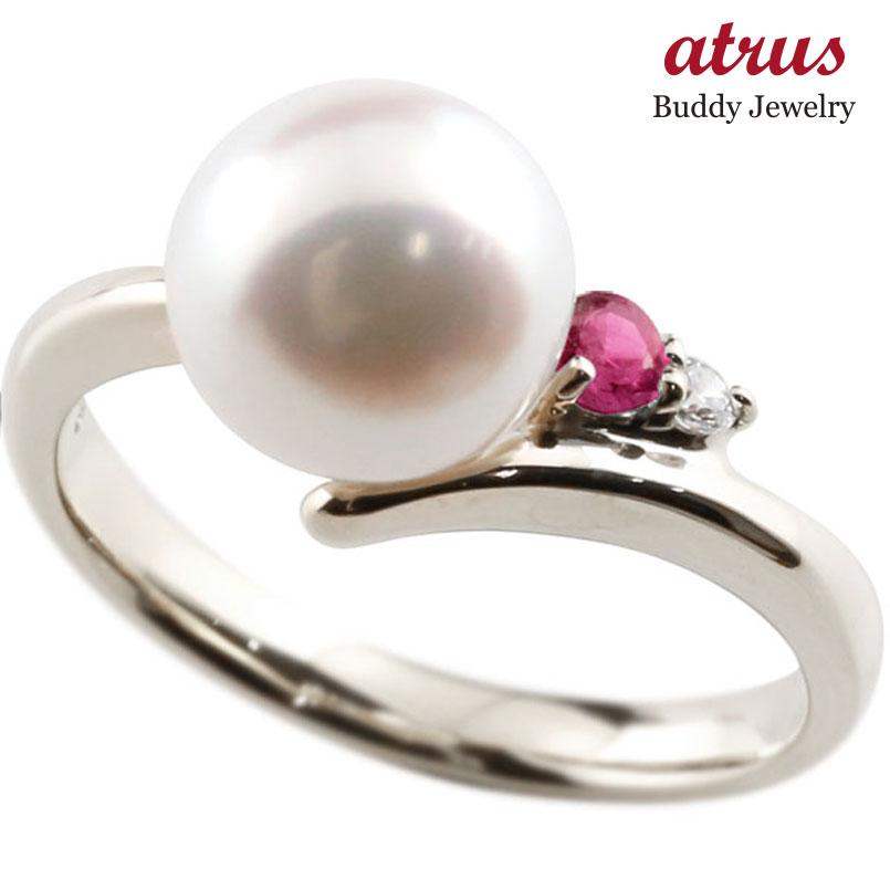 ピンキーリング 真珠 パール ルビー ホワイトゴールドk18 リング ダイヤモンド ダイヤ 指輪