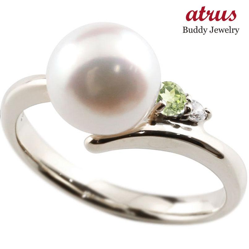 ピンキーリング 真珠 パール ペリドット プラチナ900 リング ダイヤモンド ダイヤ 指輪