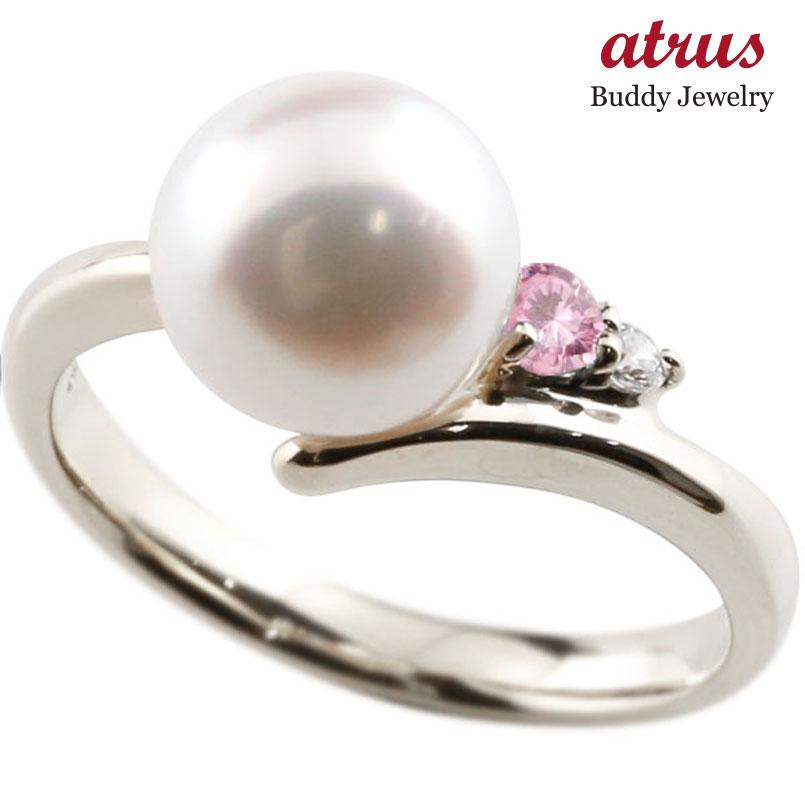 ピンキーリング 真珠 パール ピンクサファイア シルバー925 リング キュービックジルコニア キュービック 指輪