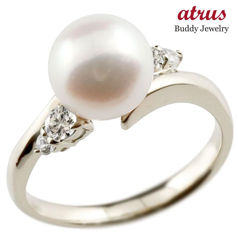 ピンキーリング 真珠 パール ダイヤモンド ホワイトゴールドk18 リング ダイヤモンド ダイヤ 指輪
