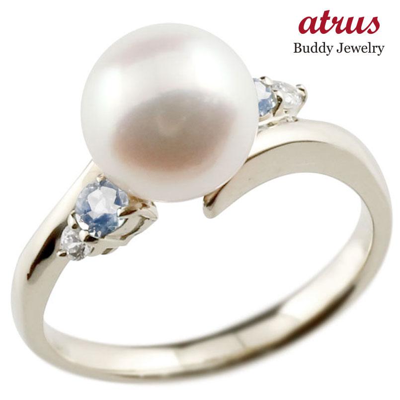 ピンキーリング 真珠 パール ブルームーンストーン ホワイトゴールドk10 リング ダイヤモンド ダイヤ 指輪