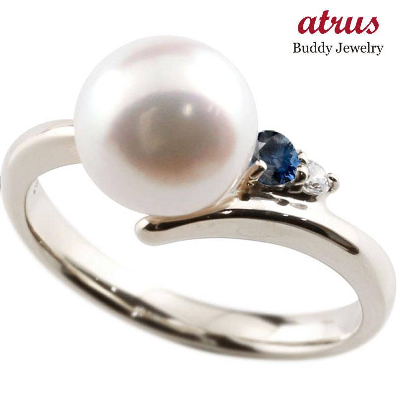 ピンキーリング 真珠 パール サファイア ホワイトゴールドk10 リング ダイヤモンド ダイヤ 指輪