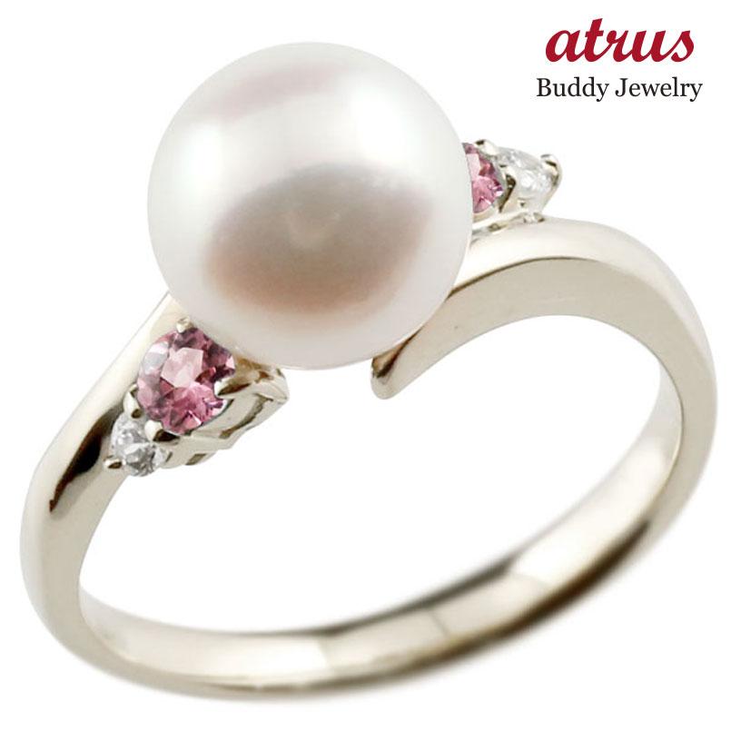 ピンキーリング 真珠 パール ピンクトルマリン ホワイトゴールドk10 リング ダイヤモンド ダイヤ 指輪