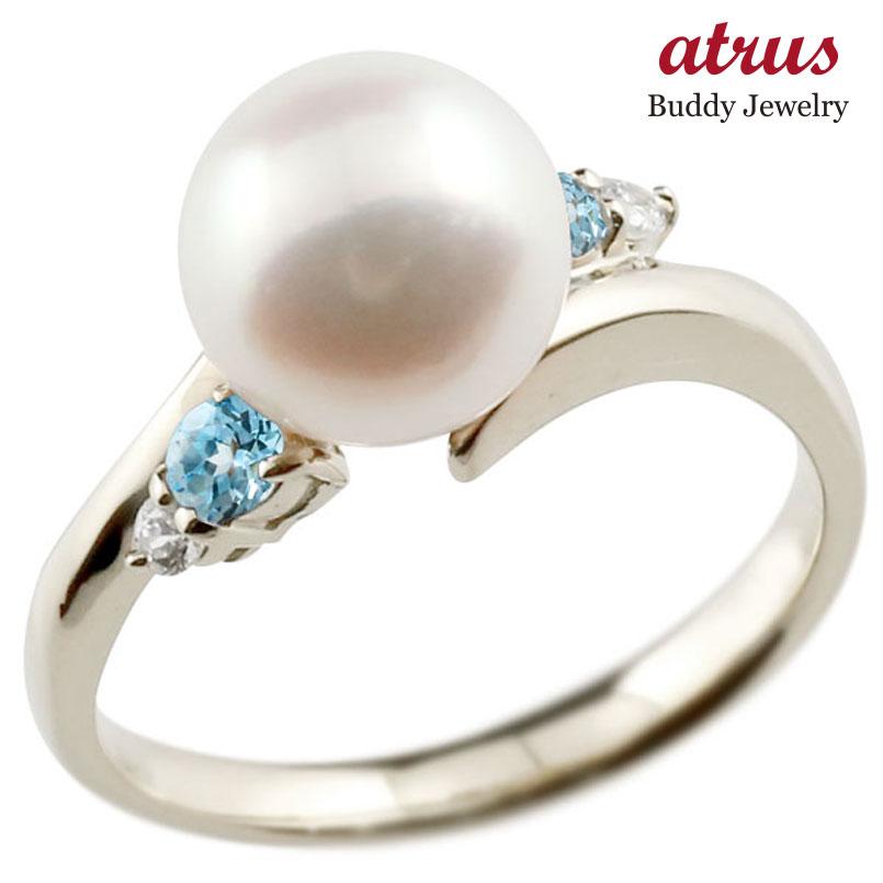 ピンキーリング 真珠 パール ブルートパーズ ホワイトゴールドk10 リング ダイヤモンド ダイヤ 指輪