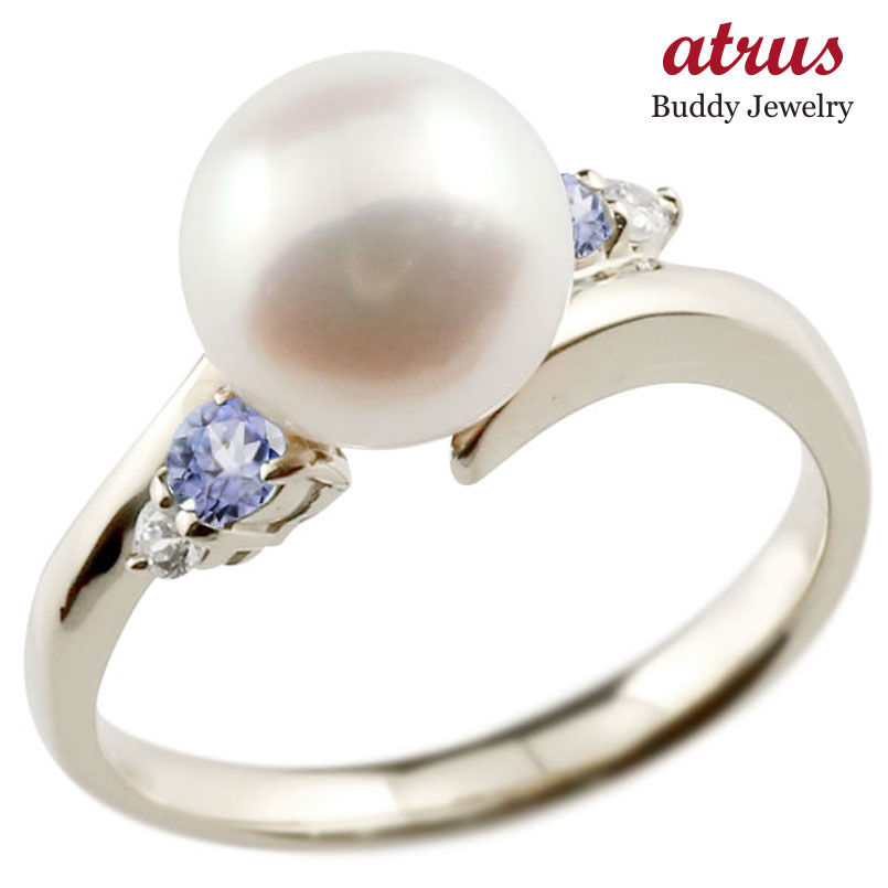 ピンキーリング 真珠 パール タンザナイト プラチナ900 リング ダイヤモンド ダイヤ 指輪