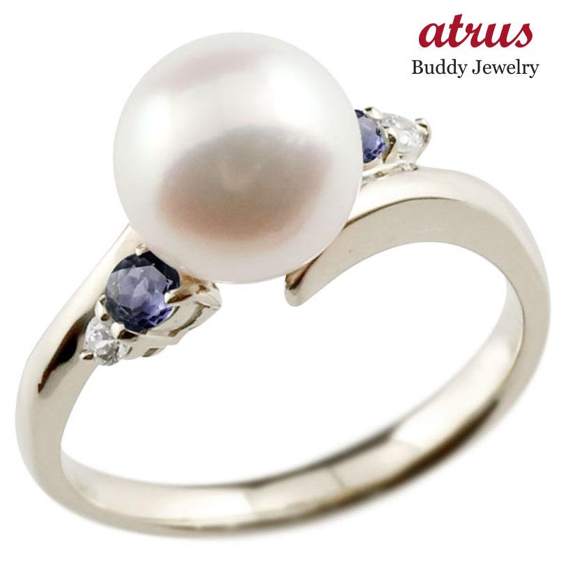 ピンキーリング 真珠 パール アイオライト ホワイトゴールドk10 リング ダイヤモンド ダイヤ 指輪