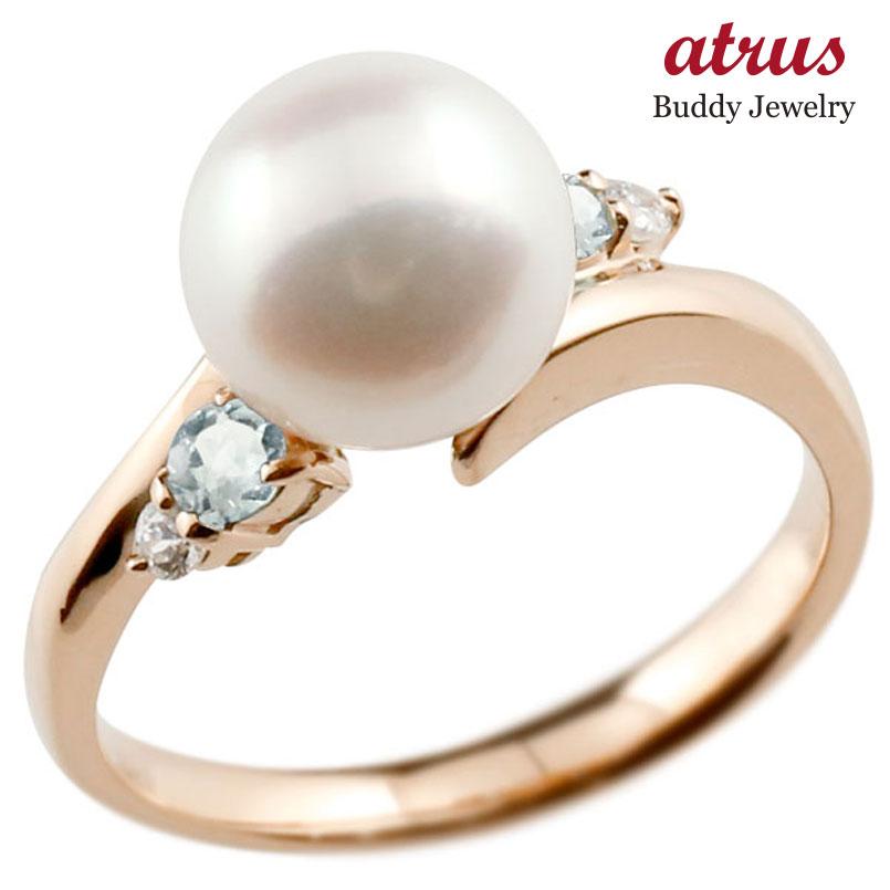 ピンキーリング 真珠 パール アクアマリン ピンクゴールドk18 リング ダイヤモンド ダイヤ 指輪