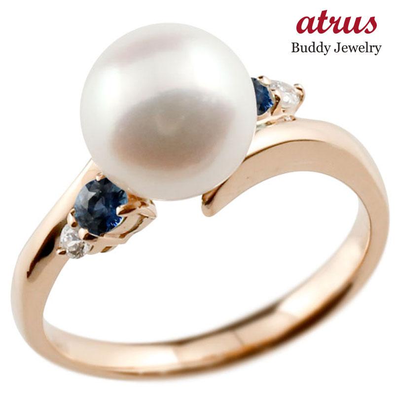 ピンキーリング 真珠 パール サファイア ピンクゴールドk18 リング ダイヤモンド ダイヤ 指輪