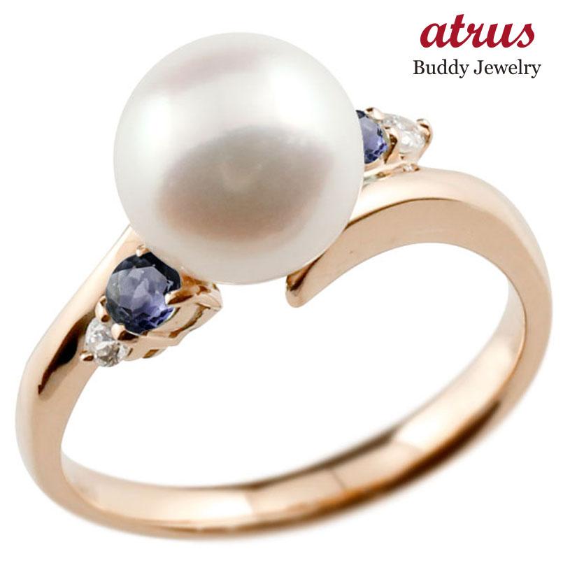 ピンキーリング 真珠 パール アイオライト ピンクゴールドk10 リング ダイヤモンド ダイヤ 指輪