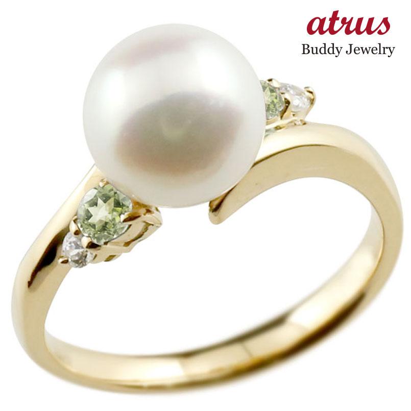 ピンキーリング 真珠 パール ペリドット イエローゴールドk18 リング ダイヤモンド ダイヤ 指輪
