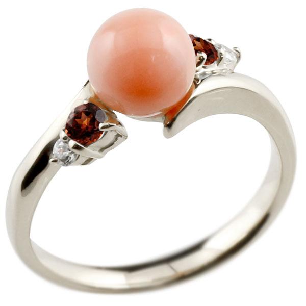 ピンキーリング 珊瑚 サンゴ コーラル ガーネット ホワイトゴールドk18 リング ダイヤモンド ダイヤ 指輪