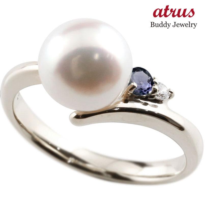 ピンキーリング 真珠 パール アイオライト プラチナ900 リング ダイヤモンド ダイヤ 指輪