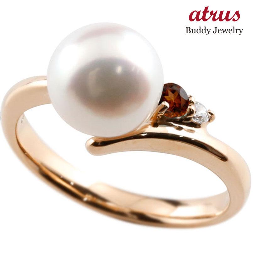 ピンキーリング 真珠 パール ガーネット ピンクゴールドk18 リング ダイヤモンド ダイヤ 指輪