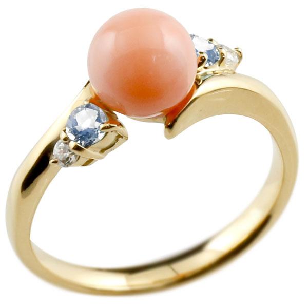 ピンキーリング 珊瑚 サンゴ コーラル ブルームーンストーン イエローゴールドk10 リング ダイヤモンド ダイヤ 指輪