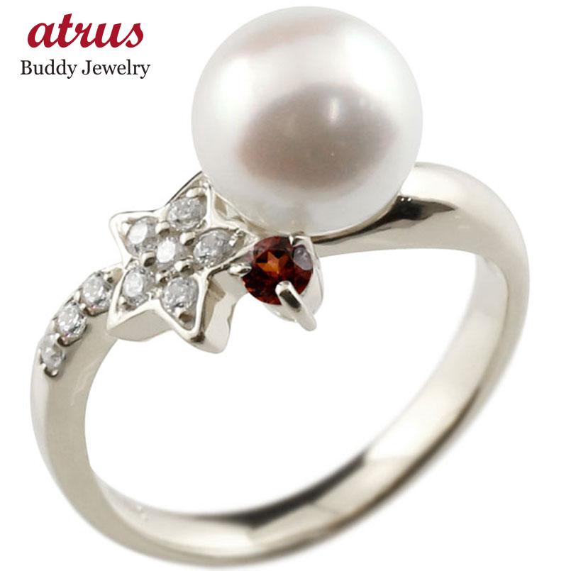 ピンキーリング 真珠 パール ガーネット ホワイトゴールドk10 リング ダイヤモンド ダイヤ 指輪