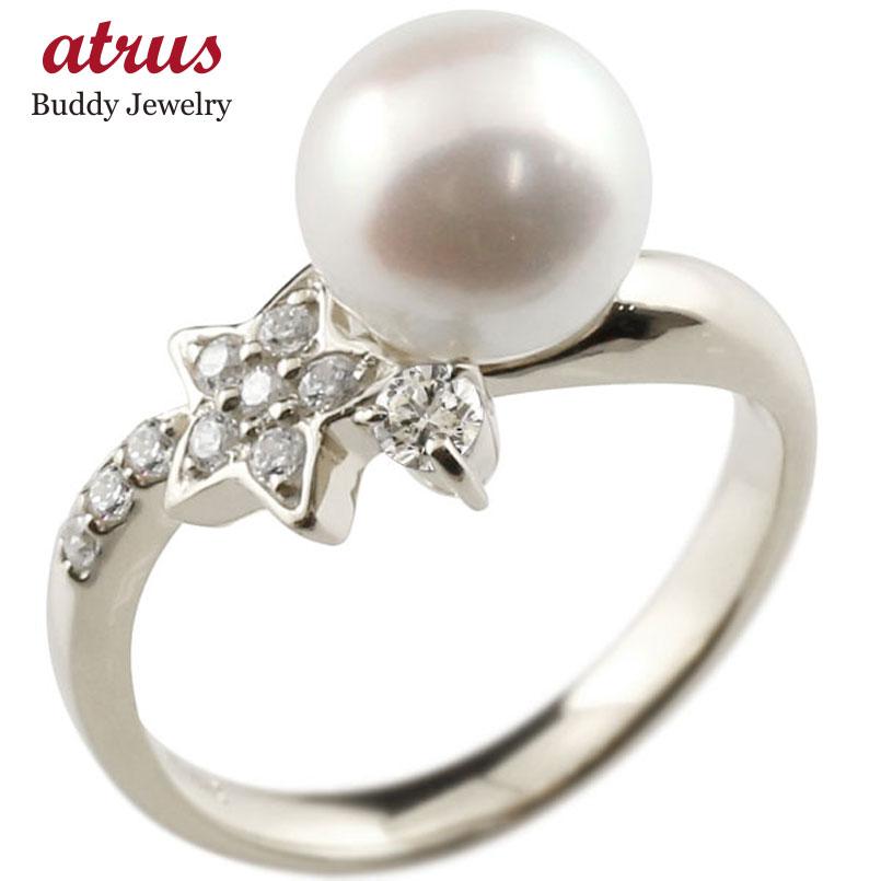 ピンキーリング 真珠 パール キュービックジルコニア ホワイトゴールドk10 リング キュービックジルコニア キュービック 指輪