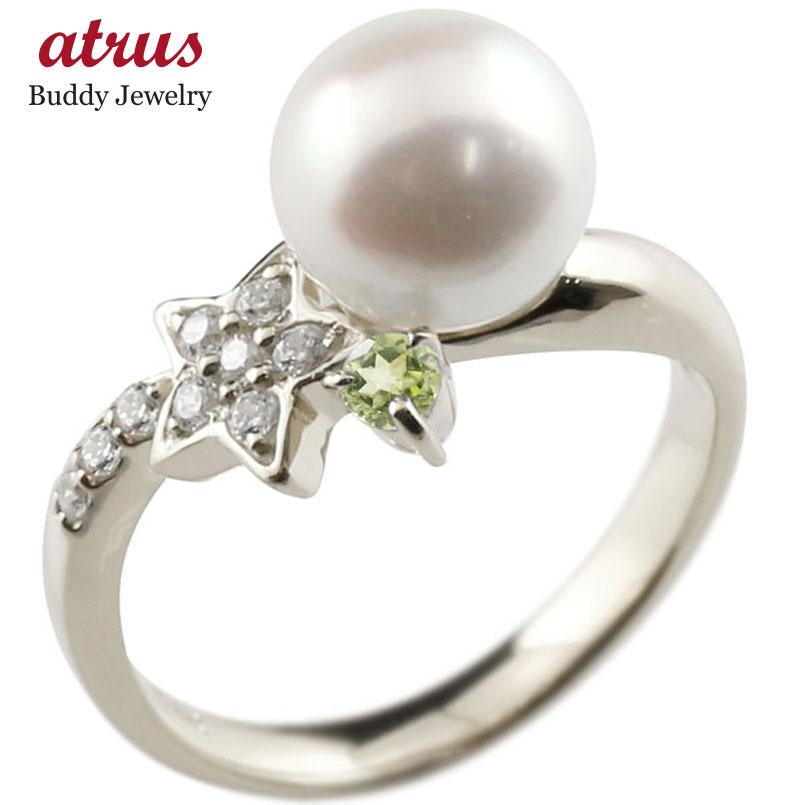 ピンキーリング 真珠 パール ペリドット ホワイトゴールドk18 リング ダイヤモンド ダイヤ 指輪
