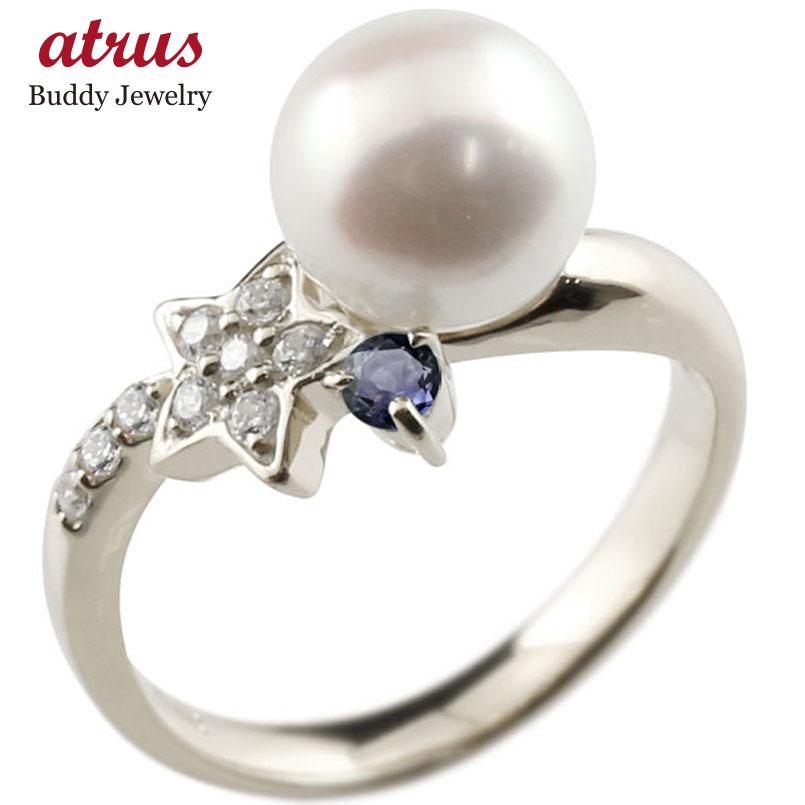 ピンキーリング 真珠 パール アイオライト ホワイトゴールドk18 リング ダイヤモンド ダイヤ 指輪