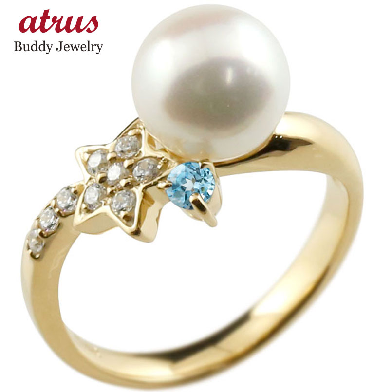 ピンキーリング 真珠 パール ブルートパーズ イエローゴールドk18 リング ダイヤモンド ダイヤ 指輪