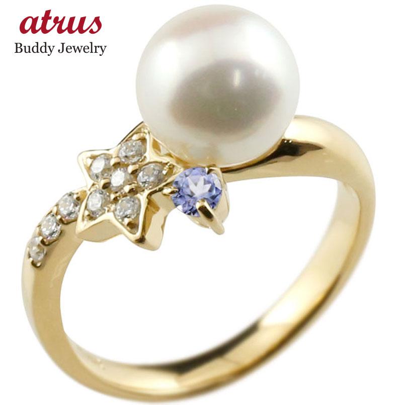 ピンキーリング 真珠 パール タンザナイト イエローゴールドk10 リング ダイヤモンド ダイヤ 指輪