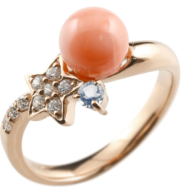 ピンキーリング 珊瑚 サンゴ コーラル ブルームーンストーン ピンクゴールドk18 リング ダイヤモンド ダイヤ 指輪