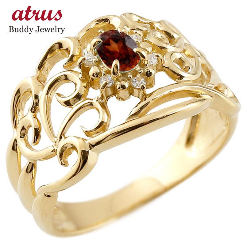 リング ガーネット 指輪 イエローゴールドk18 透かし ダイヤモンド 1月誕生石 幅広リング レディース 18金