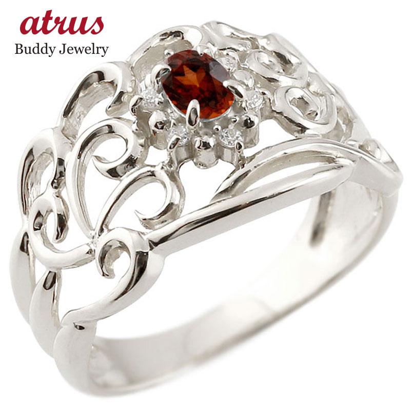 リング ガーネット 指輪 ホワイトゴールドk18 透かし ダイヤモンド 1月誕生石 幅広リング レディース 18金