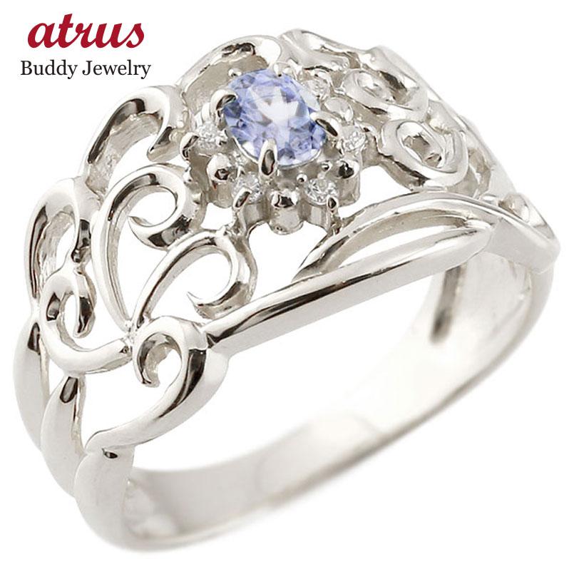 リング タンザナイト 指輪 透かし シルバー ダイヤモンド 12月誕生石 幅広リング レディース