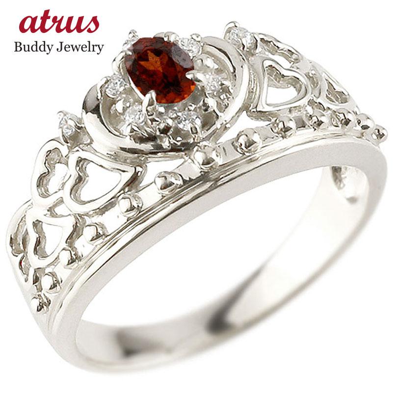 プラチナリング ガーネット 指輪 透かし ティアラ ダイヤモンド 幅広リング レディース