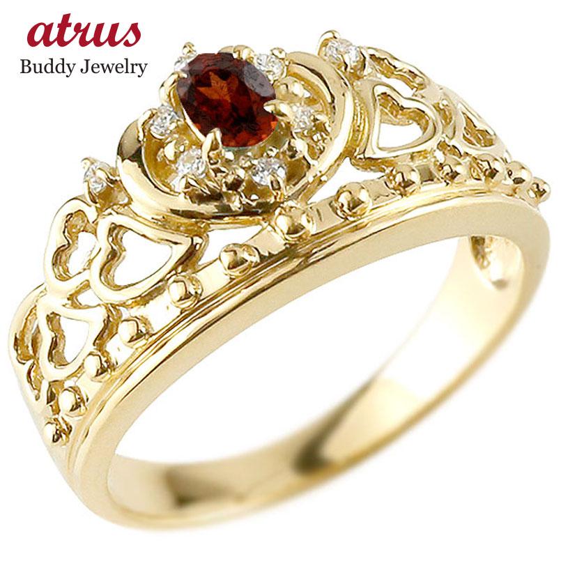 リング ガーネット 指輪 イエローゴールドk18 透かし ティアラ ダイヤモンド 1月誕生石 幅広リング レディース 18金