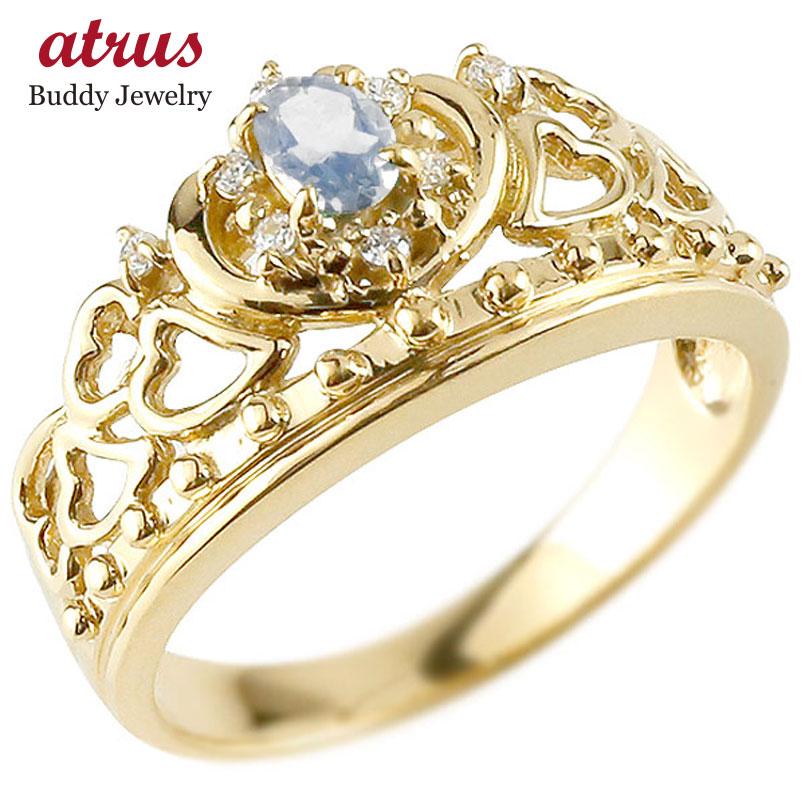 リング ブルームーンストーン 指輪 イエローゴールドk18 透かし ティアラ ダイヤモンド 6月誕生石 幅広リング レディース 18金