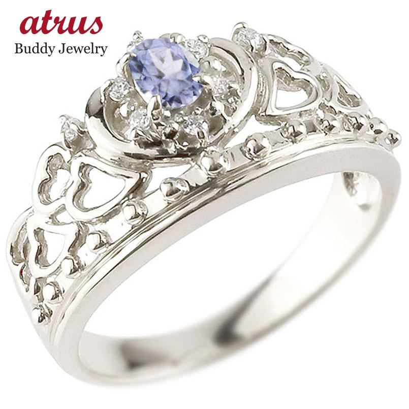 リング タンザナイト 指輪 ホワイトゴールドk10 透かし ティアラ ダイヤモンド 12月誕生石 幅広リング レディース 10金