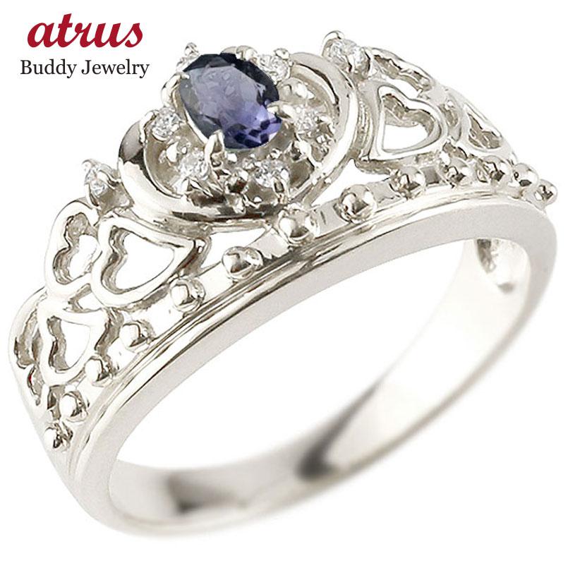 リング アイオライト 指輪 ホワイトゴールドk10 透かし ティアラ ダイヤモンド 幅広リング レディース 10金