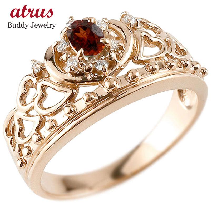リング ガーネット 指輪 ピンクゴールドk10 透かし ティアラ ダイヤモンド 1月誕生石 幅広リング レディース 10金
