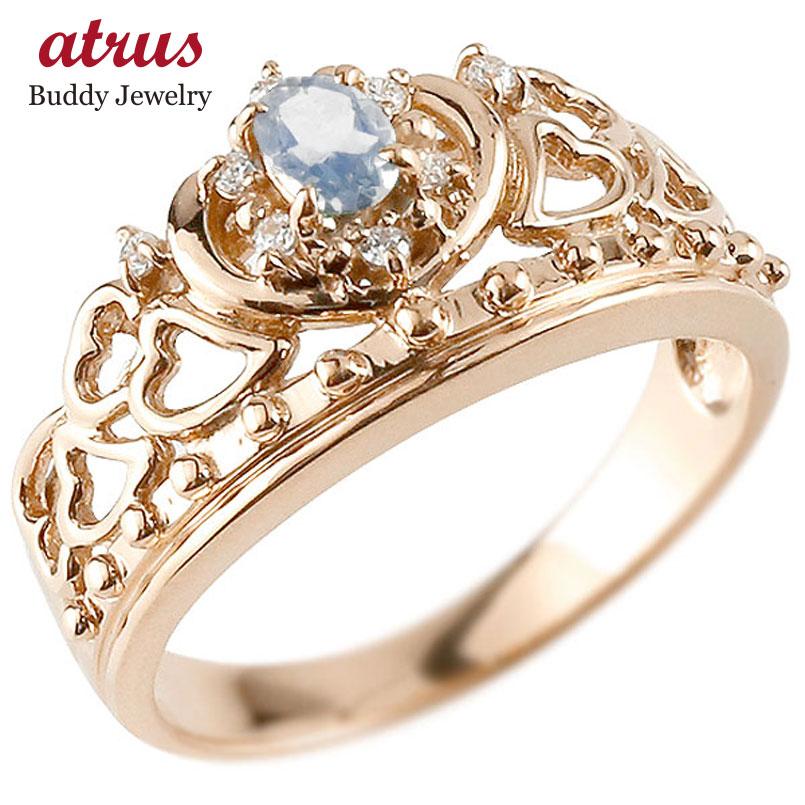 リング ブルームーンストーン 指輪 ピンクゴールドk10 透かし ティアラ ダイヤモンド 6月誕生石 幅広リング レディース 10金