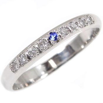 指輪 サファイア ダイヤモンド ピンキーリング プラチナ【工房直販】