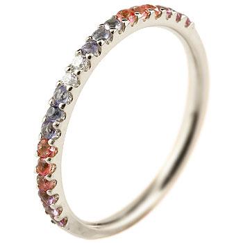 ハーフエタニティ リング アメジスト ダイヤモンド ピンキーリング 指輪 ホワイトゴールドk18