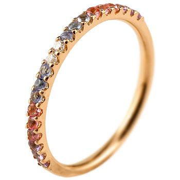 ハーフエタニティ リング アメジスト ダイヤモンド ピンキーリング 指輪 ピンクゴールドk10