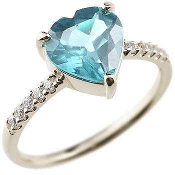 ハート リング ブルートパーズ キュービックジルコニア シルバーリング 指輪 ピンキーリング 11月誕生石