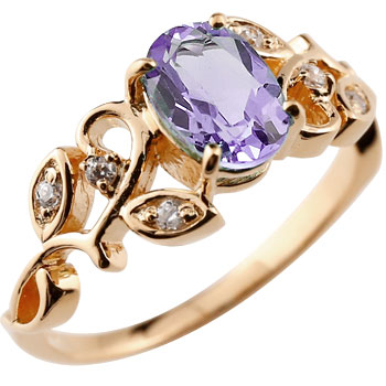 アメジスト リング ダイヤモンド 指輪 ピンキーリング ピンクゴールドk18 アンティーク レディース 2月誕生石