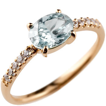 アクアマリン リング ダイヤモンド 指輪 ピンキーリング ダイヤ ピンクゴールドk18 シンプル レディース 3月誕生石