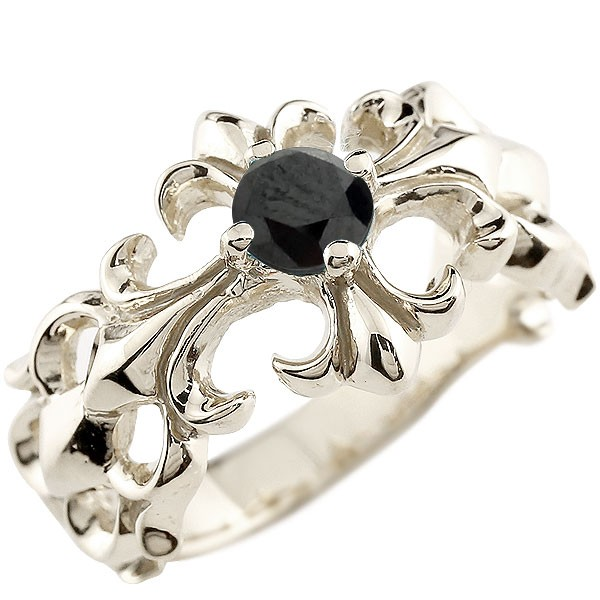 クロス ブラックダイヤモンド シルバーリング 幅広 指輪 ダイヤ ピンキーリング sv レディース
