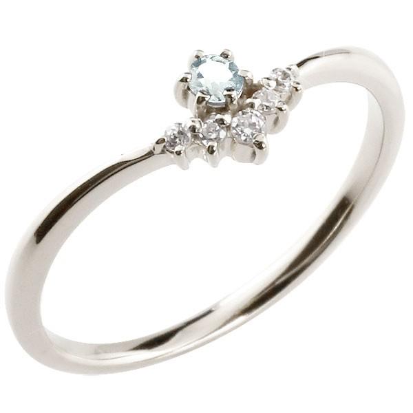 フラワー 花プラチナリング アクアマリン ダイヤモンド ピンキーリング 指輪 華奢リング 重ね付け pt900 レディース 3月誕生石