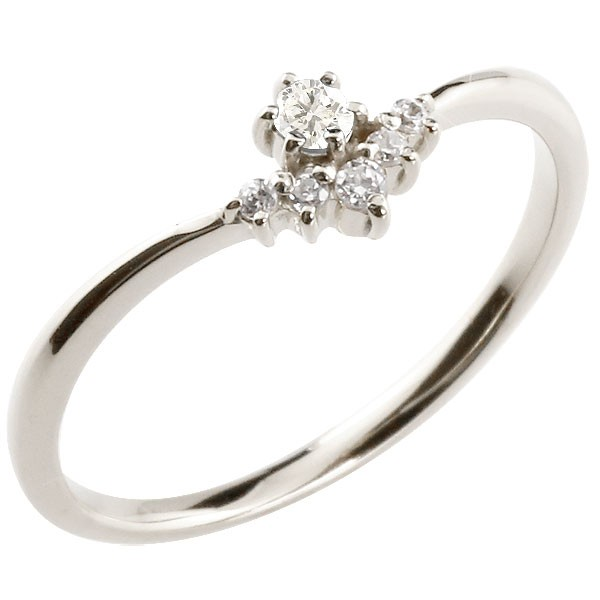 フラワー 花プラチナリング ダイヤモンド ダイヤモンド ピンキーリング 指輪 華奢リング 重ね付け pt900 レディース 4月誕生石