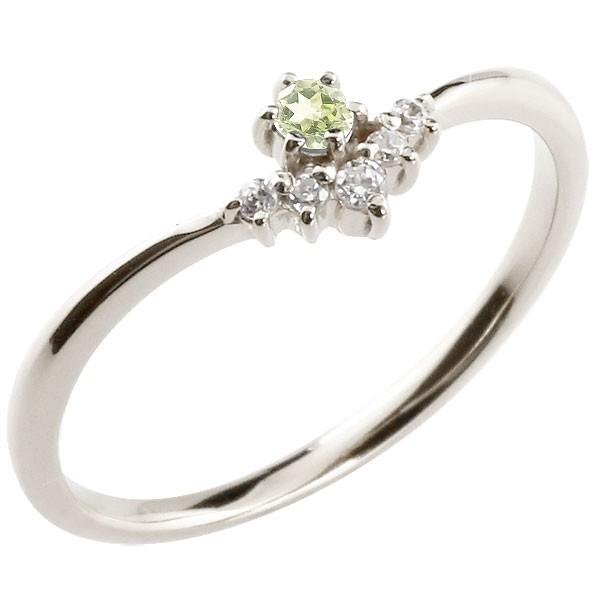 リング ペリドット ダイヤモンド ホワイトゴールドk18 ピンキーリング 指輪 華奢リング 重ね付け 18金 レディース 8月誕生石