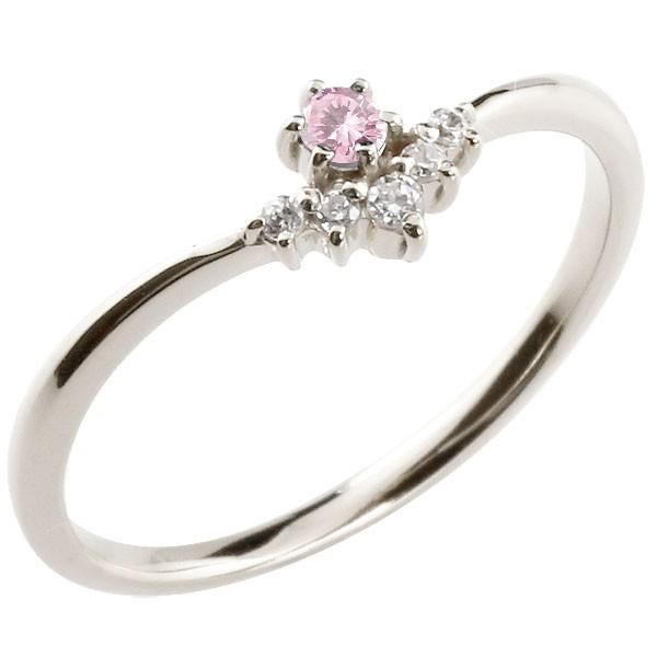 フラワー 花プラチナリング ピンクサファイア ダイヤモンド ピンキーリング 指輪 華奢リング 重ね付け pt900 レディース 9月誕生石